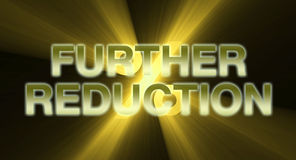 Further Reduction banner golden light flare Stock Photo