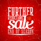 Further reductions sale design in grunge style. Stock Photos
