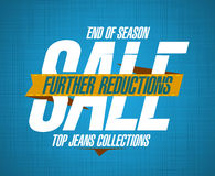 Further reductions sale design for jeans. Further reductions sale design template for jeans collections stock illustration