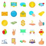Furtherance icons set, cartoon style Royalty Free Stock Photography