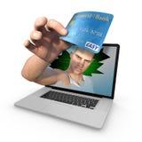 Furto della carta di credito del computer Fotografia Stock