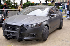 Furturistic car. NEW YORK USA OCTOBER 28: Furturistic car use for the presentation Almost Human an upcoming American science fiction/crime drama on FOX Network stock photos