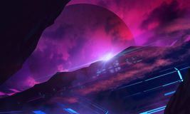 Furusistic sci-fi space illustration background. Illustration of a futuristic sci-fi space landscape background with faded planet and city on planet hill surface vector illustration