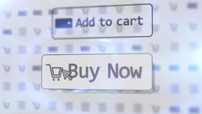 Furutistic internet shop with two icons on screen. Impressive  3D rendering  of a white internet shop screen with such inscriptions as add to cart, buy now, and Royalty Free Stock Image
