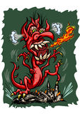 Fury Dragon is destroying city. Illustration symbolic cartoon dragon with fire flames. He is crushes city Stock Photo