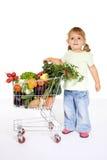 fury dziewczyny mali zakupy warzywa Fotografia Royalty Free