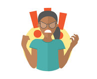 Fury evil black girl in glasses. Woman in rage, wrath, rampage. Flat design icon. Simply editable isolated vector illustration Royalty Free Stock Photo