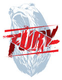Fury sign. Pure fury illustration with bear head silhouette Stock Photo