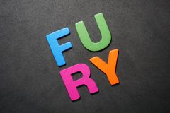 Fury. Word colorful letter text illustration design message on black background royalty free stock images
