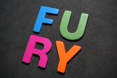 Fury. Word colorful letter text illustration design message on black background stock photo