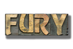 Fury word on white. Fury word made from vintage letterpress blocks on white with shadow stock photos
