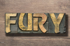 Fury word on wood. Fury word made from vintage letterpress blocks on vintage wooden background royalty free stock photos