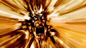 Fury zombie head in fire animation. Genre of horror. Looped video in genre of horror. Orange color stock video footage