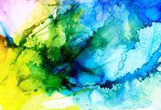 Fusão azul da quadriculação abstrata com o amarelo Foto de Stock