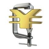 Fusão dos ienes pela deterioração do símbolo Fotografia de Stock Royalty Free