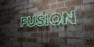 FUSÃO - Sinal de néon de incandescência na parede da alvenaria - 3D rendeu a ilustração conservada em estoque livre dos direitos Imagem de Stock Royalty Free