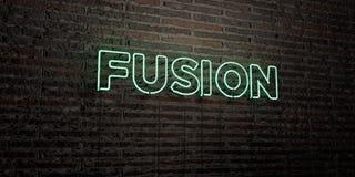 A FUSÃO - sinal de néon realístico no fundo da parede de tijolo - 3D rendeu a imagem conservada em estoque livre dos direitos Foto de Stock