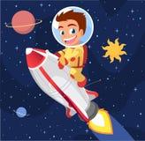 Fusée d'équitation de garçon d'astronaute Image stock