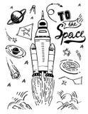 Fusée d'espace de lancement Dirigez l'ensemble d'éléments tiré par la main de croquis cosmique d'illustration d'isolement et cite Image libre de droits
