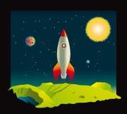Fusée d'espace visitant une planète Images stock