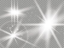 Fusée d'or d'isolement de lentille Ensemble d'effet de la lumière de vecteur de lueur, explosion, scintillement, étincelle, éclai illustration de vecteur