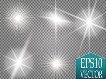 Fusée d'or d'isolement de lentille Ensemble d'effet de la lumière de vecteur de lueur, explosion, scintillement, étincelle, éclai illustration stock
