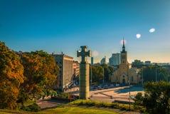 Fusée et monuments de lentille dans Tallin, Estonie photographie stock