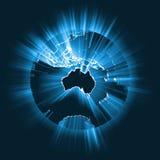 Fusée globale rougeoyante de faisceau lumineux d'Australie Image libre de droits