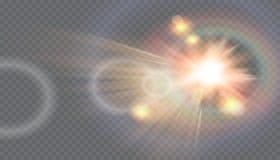 Fusée spéciale de lentille de lumière du soleil transparente de vecteur Photographie stock libre de droits