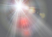 Fusée spéciale de lentille de lumière du soleil transparente de vecteur Photographie stock