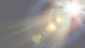 Fusée spéciale de lentille de lumière du soleil transparente de vecteur Image stock