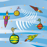 Fusées et planètes Image stock