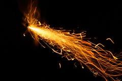 Fusível ardente no fundo preto imagens de stock royalty free