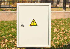 Fuse box. With black/yellow sign warning for risk of electrocution royalty free stock photo