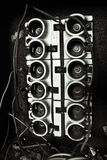Fuse box. Black and white fuse box that's deteriorated in an abandoned building royalty free stock photo