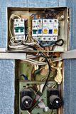 Fuse box with burnt circuit breaker panel. Burnt fuse box. Fuses and circuit breakers are safety devices had built into electrical system. When no circuit royalty free stock images