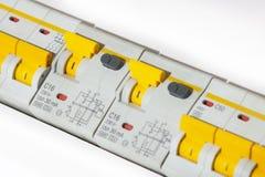Fuse box circuit. Breakers electricity stock photos