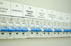 Fuse box. Closeup view of a box with automatic fuses Royalty Free Stock Photography