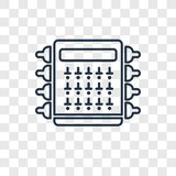 Fuse box concept vector linear icon on transparent back stock illustration