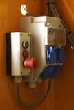 Fuse box with emergency switch. And power sockets Stock Image