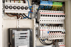 Fuse box. Inside of a Fuse box royalty free stock image