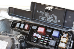 The fuse box under the hood Royalty Free Stock Image