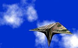 Fusée du dollar dans le ciel Images libres de droits