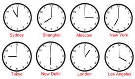 Fuseaux horaires du monde Image libre de droits