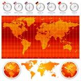Fuseaux horaires et horloges Photo stock