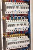 Fuseboard da distribuição de Electical Fontes elétricas Electrica fotografia de stock