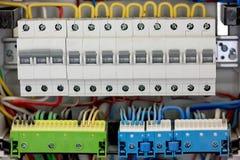 Fuseboard da distribuição de Electical Fontes elétricas Electrica imagens de stock royalty free