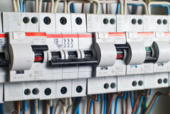 Fuseboxes row. Fusebox in house, during construction royalty free stock photography