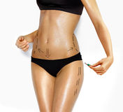 Fuselage de femme pour la chirurgie esthétique de rectification Images stock