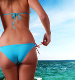 Fuselage femelle en vêtements de bain et mer Photographie stock